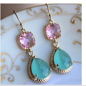 Jewelry - Pacific Aqua Mint Earrings Pink Gold Earrings
